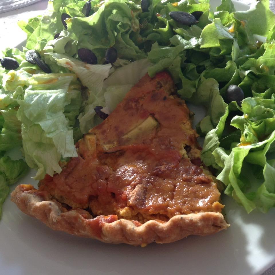 burger - bagel - pizza - cake - quiche - tarte-provençale-vegan-et-salade